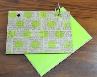 COVER and RINGS ONLY, neon green news index card binder, addresses, organize recipes, bible scriptures, gift for nurses, teachers, coworker