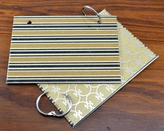 COVER and RINGS ONLY, black and gold index card binder, addresses, organize recipes, bible scriptures, gift for nurses, teachers, coworker