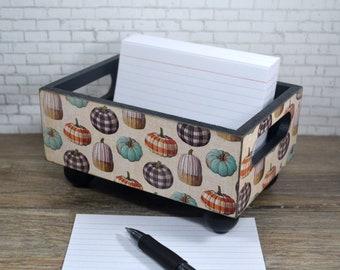 Storage Bin, Fall Buffalo Plaid Pumpkin Design, Desk Organizer, Recipe Card Holder