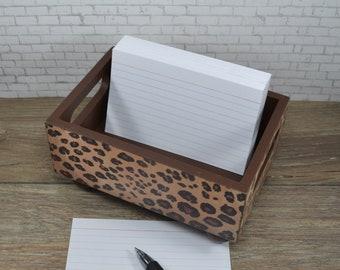 Storage Bin, Leopard with Brown, Desk Organizer, Kitchen Recipe Holder