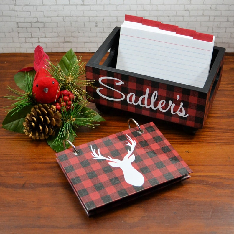 Buffalo Plaid Christmas Set Storage Bin with 3x5 Index Card image 0