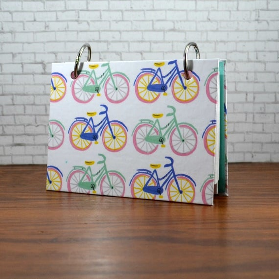 3 x 5 or 4 x 6 pastel bicycle notebook for index cards