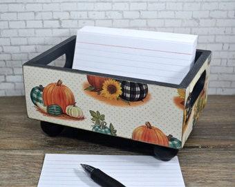 Storage Bin, Plaid Pumpkins on Polka Dots, Desk Organizer, Recipe Card Holder