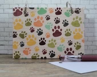 Dog Paw Prints, Index Card Binder, New Puppy Owner Planning Journal