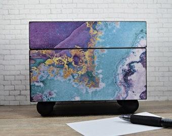 Recipe Box in Mermaid Agate Decoupage Design, Index Card Organization