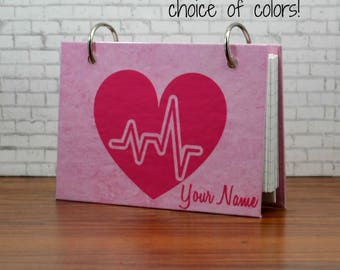 Index card binder with heartbeat and personalized with name, nursing student, nurse, medical student gift, college, scrub pocket notes