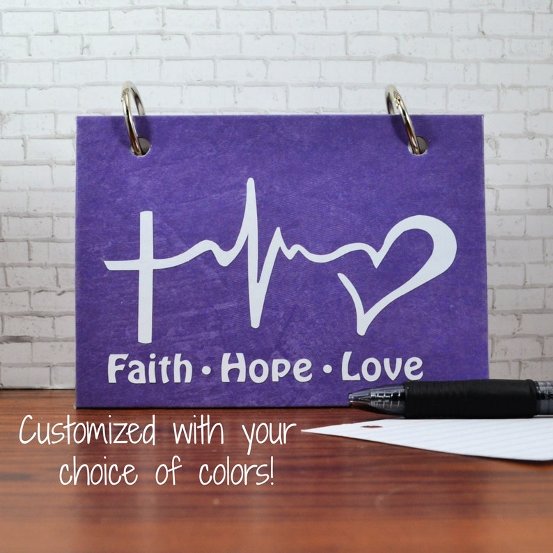 Index Card Binder Faith Hope Love Notes Journal image 0
