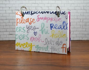 3 x 5 or 4 x 6 index card binder,  just cute words in pastels, sturdy chipboard cover, quotes binder, writing journal with tab dividers