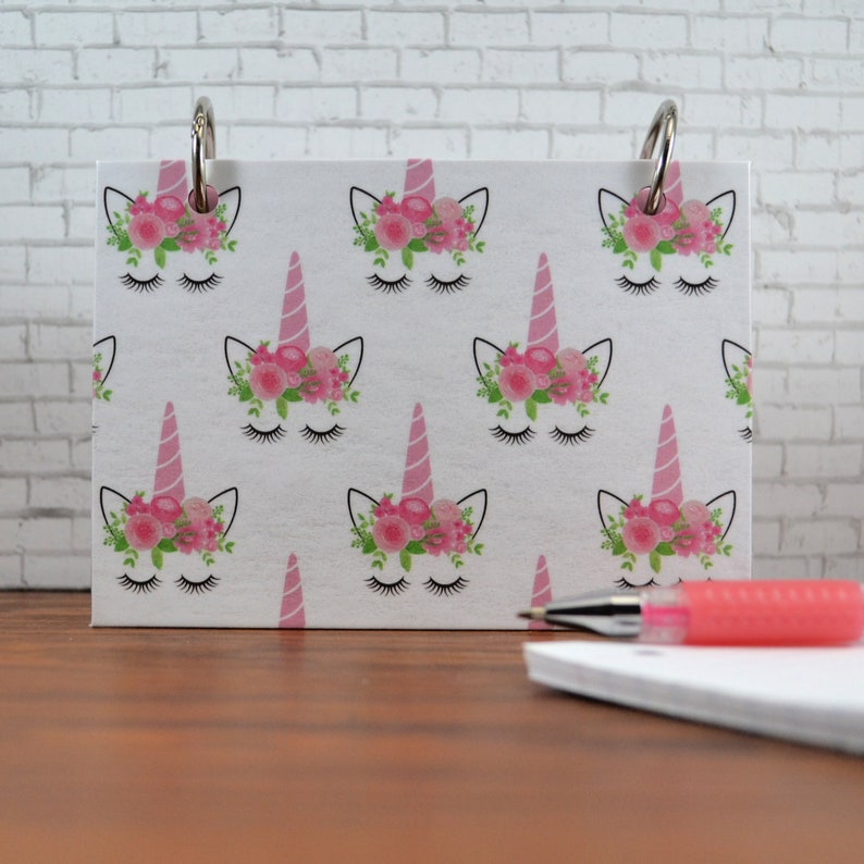 Mini Planner for Index cards Pink Flower on Unicorn Study image 0