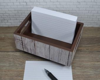 Storage Bin, Faux Whitewash Wood, Desk Organizer, Kitchen Recipe Holder