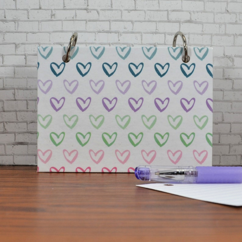 Index Card Binder with Pastel Hearts for Note Writing image 0