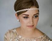1920s style rhinestone wedding headband, diamante ribbon deco bridal forehead band - Greta