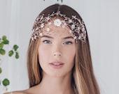 Large bohemian wedding hair vine, statement boho bridal hair vine, bridal bun wrap, wedding headpiece, dramatic bridal headdress - Katya