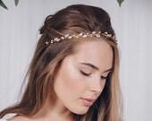Swarovski crystal wedding headband hair vine, crystal and pearl bridal hair vine, silver gold or rose gold hair vine - India