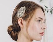 Silver rhinestone bridal hair comb, vintage style diamante wedding comb, art deco crystal hair comb - Bijoux