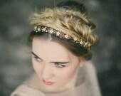 Mother of pearl flower wedding headband, boho silver pearl flower hair vine, gold floral ribbon tie headband hair vine - Isabella