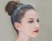 Ivory bridal birdcage veil, ivory clip-on wedding birdcage veil, soft French netting birdcage veil