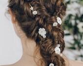 Bridal Flower hair pins set, floral wedding plait hair pins, mother of pearl flower hair pin plait set - Minna