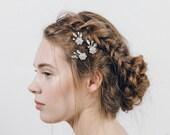 Crystal flower and pearl bridal hair pins, Swarovski crystal and pearl hairpins - Saffron