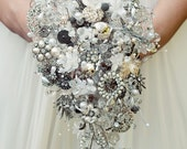 Bespoke brooch bouquet - vintage crystal, button and brooch teardrop shower wedding bouquet