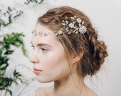 Grecian crystal flower bridal hair vine, silver boho floral wedding hair vine, silver crystal bohemian headband hair vine - Cora