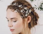 Silver crystal bridal browband hair vine, Silver boho flower wedding hair vine, bohemian floral headband hair vine - Blanche
