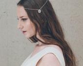 Silver crystal wedding halo, silver chain bridal circlet, crystal bridal crown - Ophelia