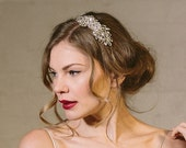 Deco crystal wedding headband, Swarovski bridal side tiara headband - Arabella