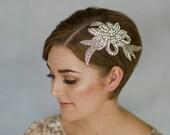 Silver rhinestone bridal hair comb, vintage style crystal bridal headpiece, 1930s style wedding comb - Vivien