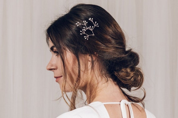 Coralie Rose gold Silver or Gold hair pin trio delicate pearl flower bridal hair pin set Mother of pearl flower wedding hair pins