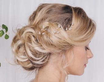 Swarovski crystal and pearl small bridal hairpins, delicate crystal wedding hair pins, silver gold or rose gold crystal hairpin set - India