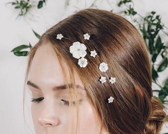 Mother of pearl flower hair pins, Pearl flower bridal plait hair pins, Floral wedding hair pin set - Minna