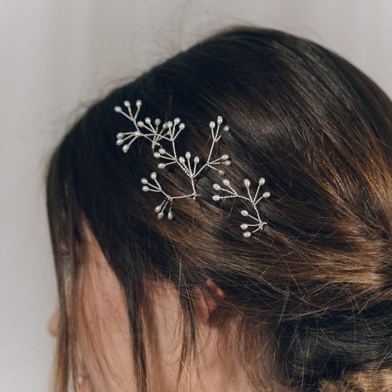 Celeste Celestial crystal or pearl bridal hair pins trio of rose gold silver or gold hair pins crystal or pearl wedding hair pin set