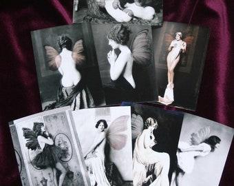 """Fairies for adults Set of 8 4x6"""" fairy print sepia black & white"""