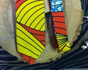 Yellow, Orange and Teal Print Ankara Necktie