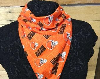 Cleveland Browns Printed Bandana, Orange, Face Covering, Unisex, Cotton