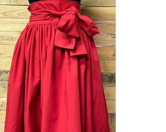 Red Tie Waist Ball Skirt with pockets