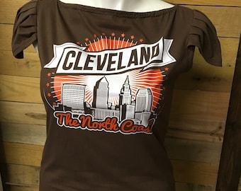 Cleveland Football Deconstructed Asymmetrical T Shirt with ruffle detail