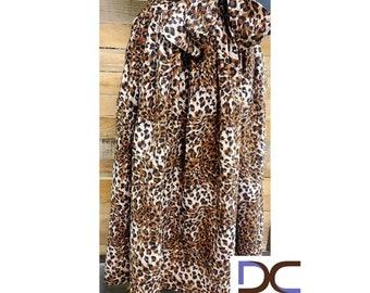 Animal Print Tie Waist Maxi Skirt with pockets