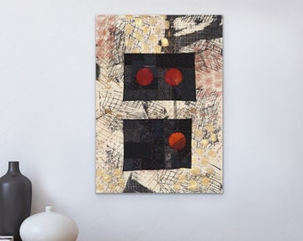 Art Quilt Wall Hanging, Moon Phase, Abstract Expression, Mid-Century Modern, Embroidered, Silk Screen