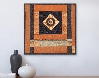 Zen Art Quilt Wall Hanging, Modern Improv Log Cabin Quilt Art, Mandala, Torii Gate