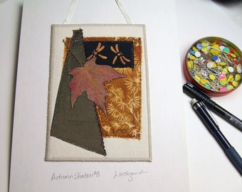 Autumn Leaf Mini Wall Hanging, Pressed Maple Leaf, Dragonfly Batik, Embroidered Crazy Quilt Art Collage