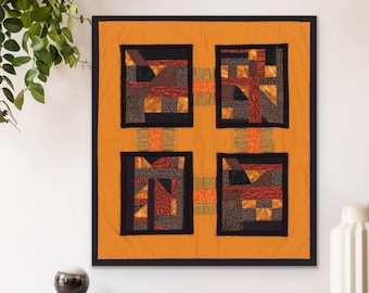 Abstract Art Quilt Wall Hanging, Embroidered Crazy Quilt, Modern Geometric Patchwork