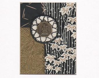 """Crazy Quilt Art brodé Collage asiatique Bouddha pièce d'érable feuille de Lotus fleur prête à encadrer 10 """"x 8"""""""