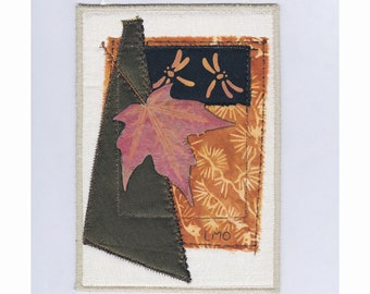 Mini Wall Hanging Quilt Art Collage, Pressed Autumn Maple Leaf, Dragonfly, Embroidered Crazy Quilt Patchwork