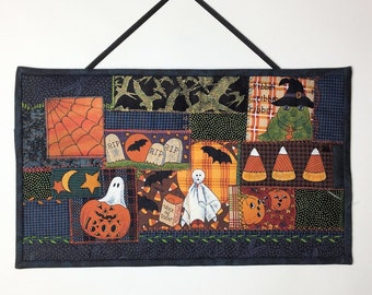 Halloween Quilt Wall Hanging, Embroidered Crazy Quilt Patchwork Style, Pumpkin, Ghost, Spider Web