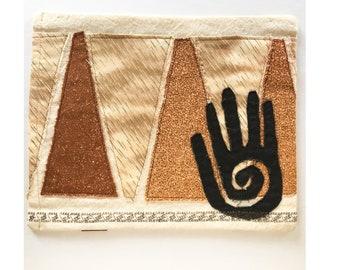 Textile Art Wall Hanging Hand Symbol Petroglyph Primitive Abstract Fiber Art