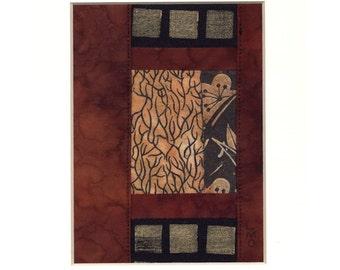 Abstract Zen Garden View, Asian Shoji Screen, Mixed Media Collage Textile Art, Ready to Frame 10 x 8 inch