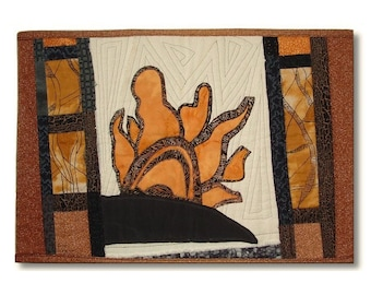 Abstract Sun and Desert Landscape Wall Hanging, Primitive Tribal Style Textile Art, Quilt Art Fabric Collage on Burlap