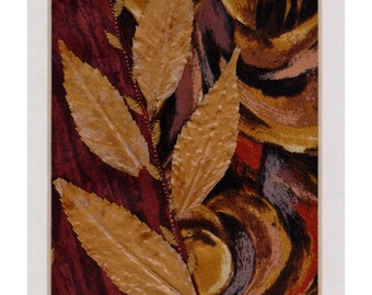 Autumn Leaves Textile Art Collage, Embroidered Crazy Quilt Patchwork Block, Pressed Leaves, Ready to Frame 10 x 8 inch mat